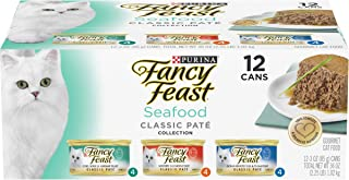Purina Fancy Feast Grain Free Pate Wet Cat Food Variety Pack, Seafood Classic Pate..