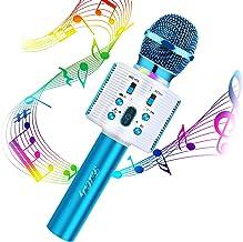 Karaoke Microphone, FISHOAKY Karaoke Bluetooth Machine Portable Mic Player Speaker with LED & Music Singing Voice For Kids...