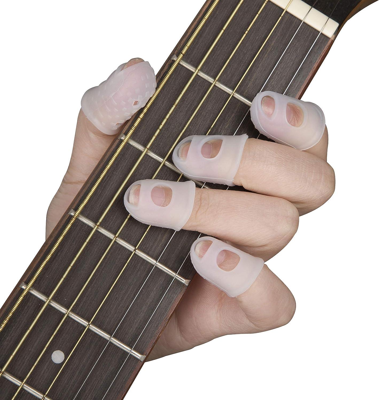 Protectores de Dedo de Guitarra Cubiertas Dedo Silicona para Instrumentos de Cuerda Costura Papeleo 5 Tamaños 50 Piezas