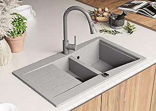 Granitspüle mit Siphon Madrid Einbauspüle Spülbecken Grau Küchenspüle Unterschrank Küche ab 60cm Spüle aus Granit mit Ablaufgarnitur Drehexcenter und Überlauf von Primagran