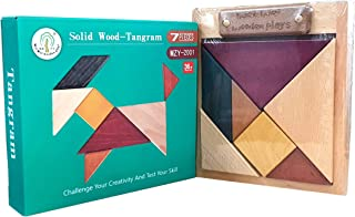 Solid Wood Tangram 3D Brain Teaser Wooden Puzzle Large Size 7 Pieces Classic Original Pattern Blocks Geometric Shapes Chal...