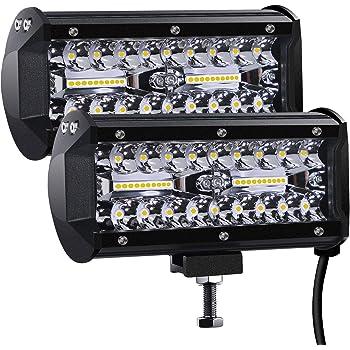 AAIWA LED Barre de Lumi/ère de Travail 7 Pouces 54W 2Pcs Faisceau de Tache de Phare 12V 24V Hors Route Conduite Brouillard Lampes Triple Rang/ée Ip68 Spotlight pour Tracteur Camion SUV ATV
