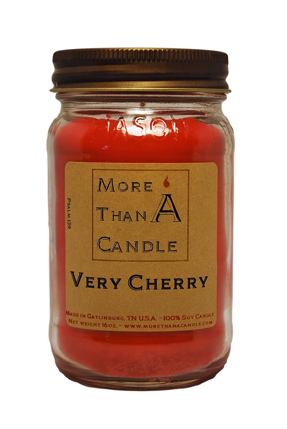 概要わずかに結び目More Than A Candle VCY16M 16 oz Mason Jar Soy Candle, Very Cherry