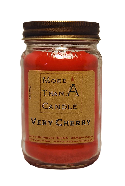 放置敏感な意志More Than A Candle VCY16M 16 oz Mason Jar Soy Candle, Very Cherry