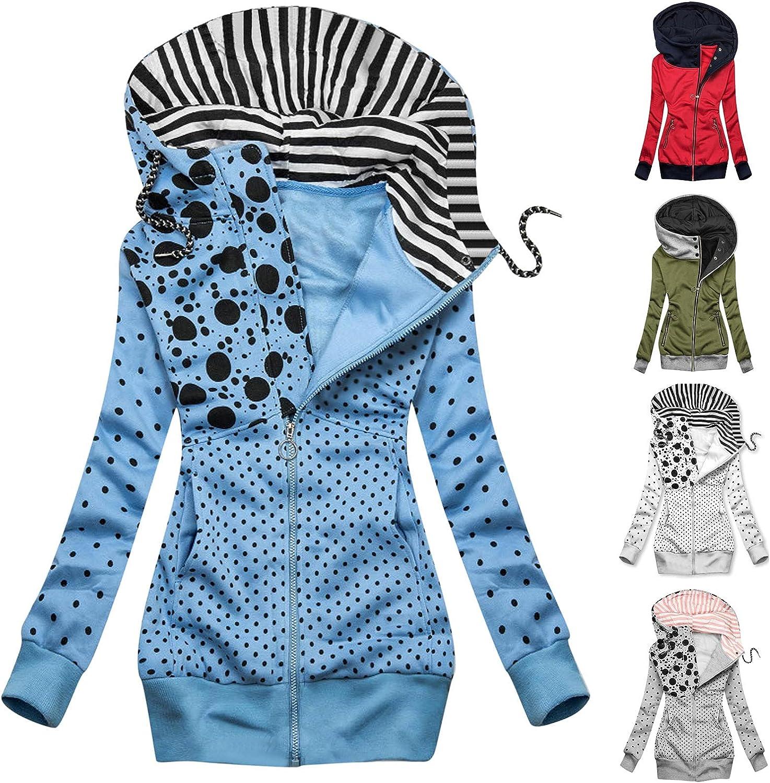 FANGTION Women's Zip Hoodie Jackets, Long Sleeve Solid Color Pullover Sweatshirt Coats Hooded Lightweight Full-Zipper Anoraks