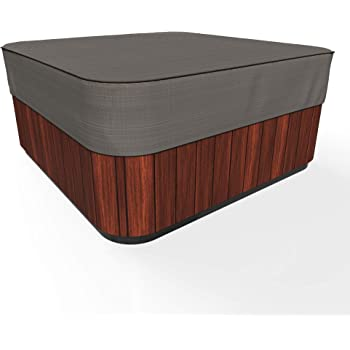 Budge P9A16PM1 English Garden Square Hot Tub Cover Heavy Duty and Waterproof, Medium, Tan Tweed