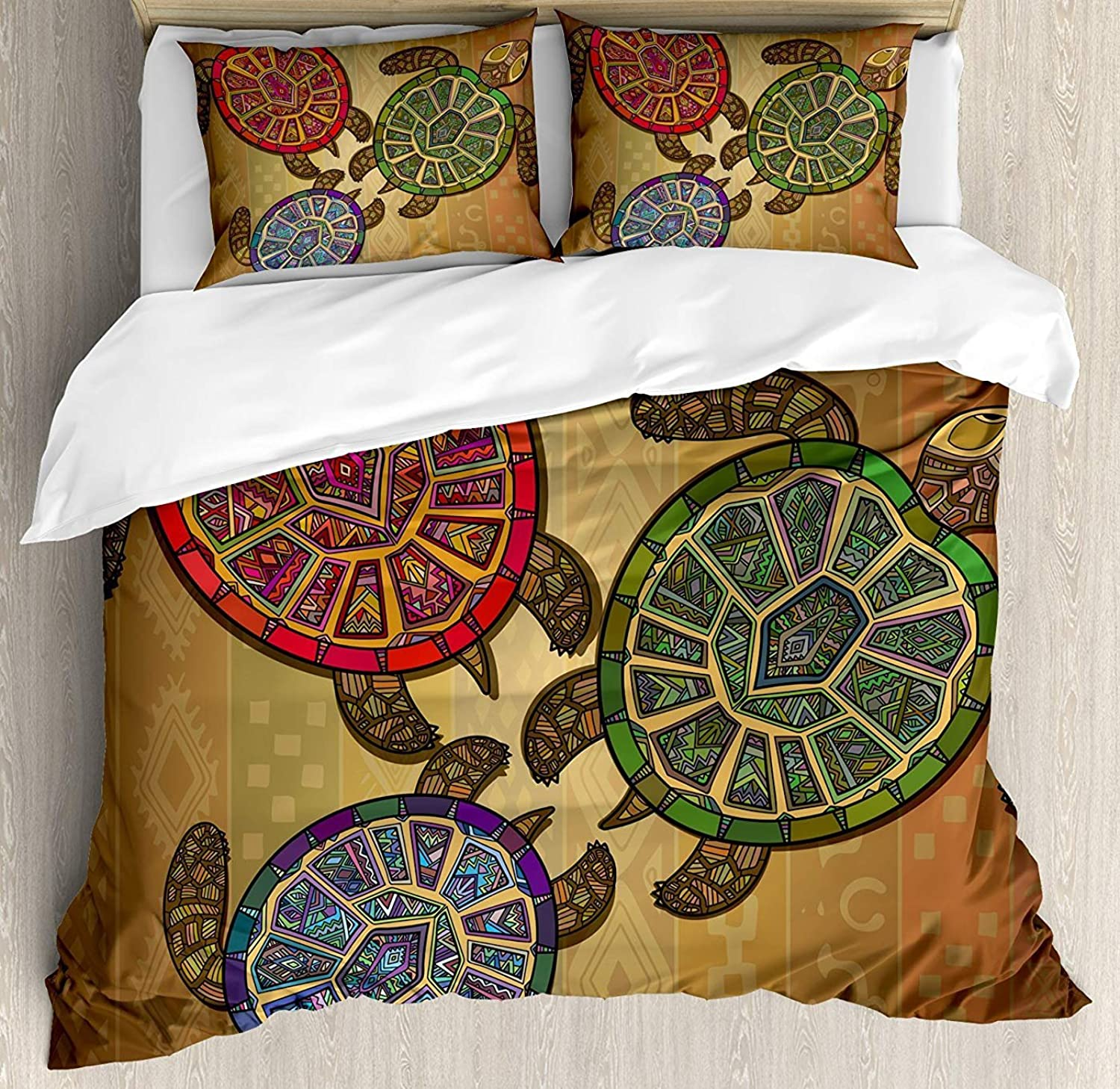 Turtle Duvet Cover Set Full Size, Three Ocean Turtles Ethic Style Animals Geometric Vibrant Ocean Theme Artwork Print,Lightweight Microfiber Duvet Cover Sets, Multicolor