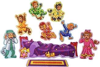 Little Folk Visuals Five Monkeys Jumping on the Bed Precut Flannel/Felt Board Figures, 9 Pieces Set
