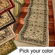 Marash Luxury Collection 25' Stair Runner Rugs Stair Carpet Runner with 336,000 Points of Fabric per Square Meter, Ivory