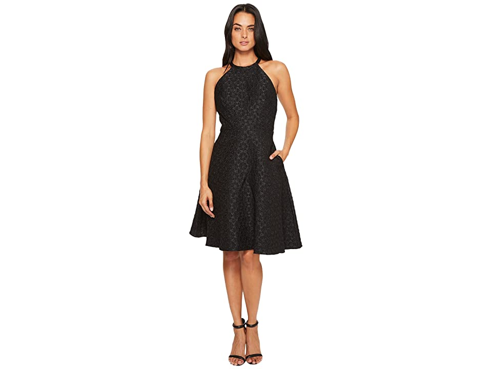 Badgley Mischka Halter Bow Dress (Black) Women