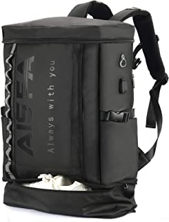 AISFA リュック メンズ リュックサック バックパック スクエア リュックサック 全撥水加工 防水15.6インチ PC ビジネスリュック ラップトップバック 2層式 拡張機能大容量 bag 靴/弁当収納 スクエア リュック USB充電ポート付き31L アウトドア旅行防水 通勤 修学 学生 バッグ 男女兼用多機能通気性 A4収納多ポケット