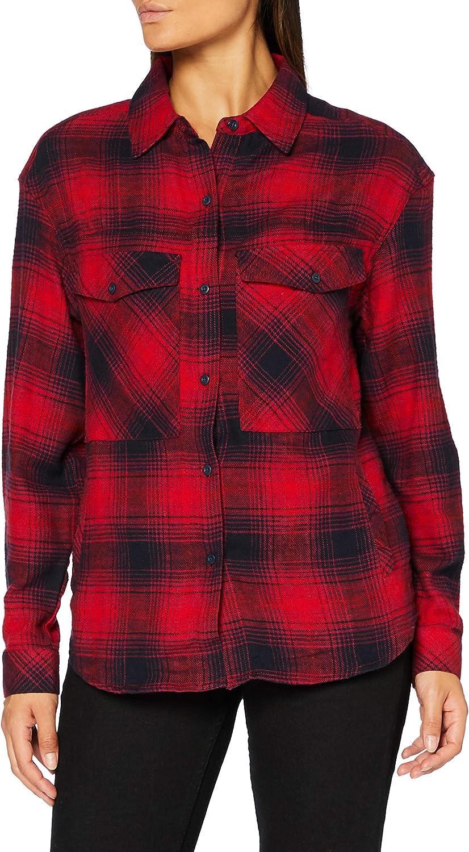Urban Classics Ladies Gorgeous Phoenix Mall - Flanell Rot Check Overshirt