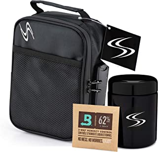 Large Smell Proof Case + Jar Bundle - Smart Stash Bag with Lock 8x6x3 + Odor Proof Container 250ml for Herbs, Weed, Spices. Combo Locking Safe Box + Airtight Half Ounce UV Resistant Glass Storage.