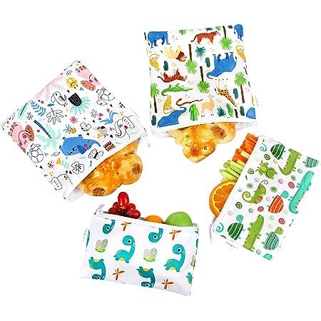 Langsprit Premium Reusable Sandwich & Snack Bags-Washable Lunch Bags - Set of 4 - (Animal)