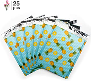 Fu Global #2 8.5x12 Inches Pineapple Poly Bubble Mailers Designer Boutique Custom Padded Envelopes High-Grade Pearlescent Teal Color Pack of 25
