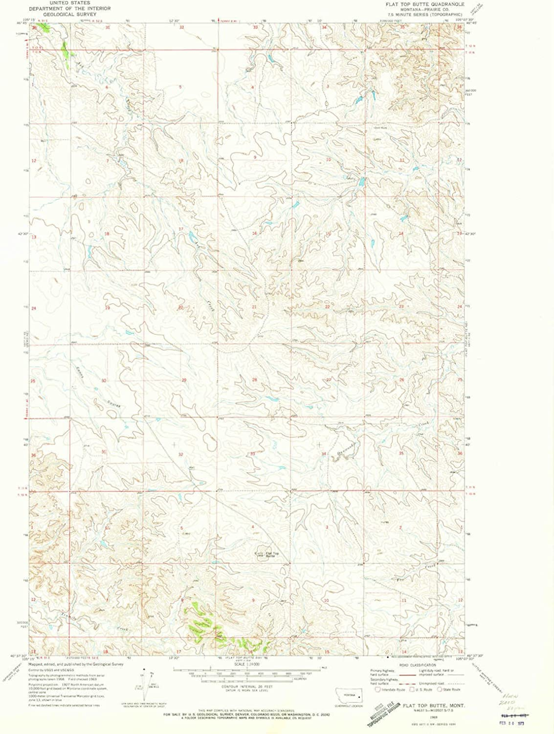 Flat Top Butte MT topo map, 1 24000 Scale, 7.5 X 7.5 Minute, Historical, 1969, Updated 1973, 26.8 x 22 in