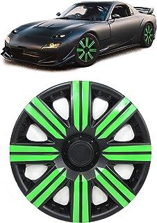 Carparts Online 28751 Radkappen Radzierblenden für Stahlfelgen Set Tenzo R II 14 Zoll silber grün
