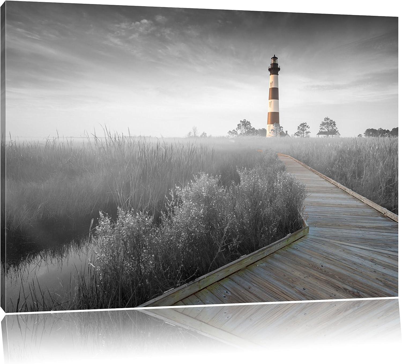 Schöner Leuchtturm mit Steg schwarz weiß Format  120x80 auf Leinwand, XXL riesige Bilder fertig gerahmt mit Keilrahmen, Kunstdruck auf Wandbild mit Rahmen, günstiger als Gemälde oder Ölbild, kein Poster oder Plakat B00UZ2PYTA