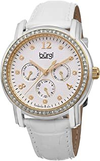 Burgi Womens Quartz Watch, Analog Display and Leather Strap BUR083YGW