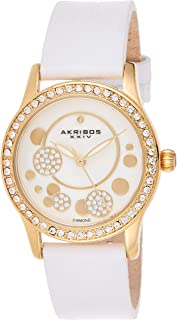 Akribos Xxiv Dress Watch Analog Display Japanese Quartz For Women Ak843Wtg, Leather Strap