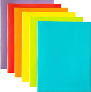 Youngever 12 Pack Plastic Pocket Folders - Heavy Duty Plastic 2 Pocket Folder, in 6 Colors