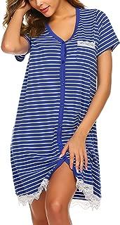 Ekouaer Women's Nightgown Striped Tee Short Sleeve Sleep Nightshirt with Front Pocket