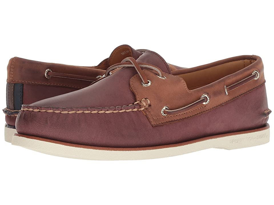 Sperry Gold A/O 2-Eye Chevre (Burgundy/Brown) Men