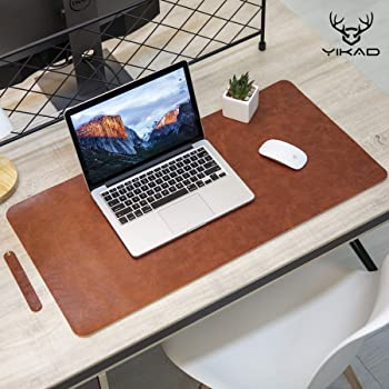 """Yikda Extended Leather Gaming Mouse Pad / Mat, Large Office Writing Desk Computer Leather Mat Mousepad,Waterproof,Ultra Thin 1.2mm - 31.5""""x15.7"""" (Dark Brown)"""