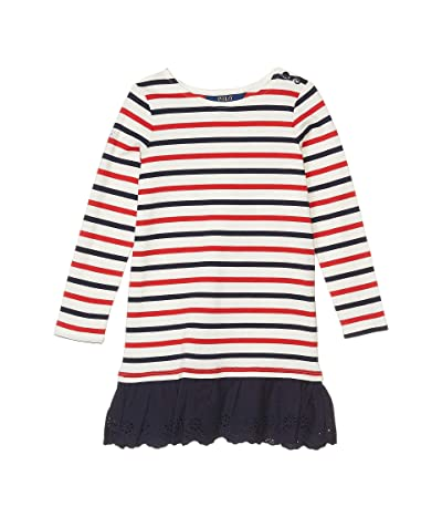 Polo Ralph Lauren Kids Striped Cotton Jersey Dress (Little Kids) (Clubhouse Cream) Girl