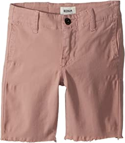 Hudson Kids - Raw Hem Sateen Chino Shorts in Faded Red (Toddler/Little Kids/Big Kids)