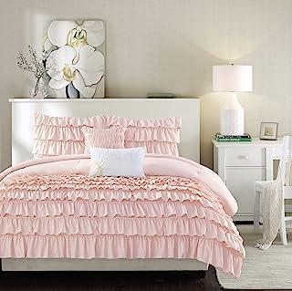 Intelligent Design ID10-1381 Waterfall Comforter Reversible Solid Lush Ruffled Stripe Shabby Chic Ultra Soft Microfiber Do...