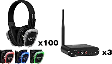 Talent Silent Disco Bundle with 100 RF-309 Headphones and 3 TX-50RF Transmitters
