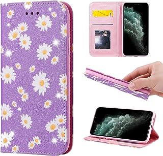 EnjoyCase Wallet Case Bling for Samsung Galaxy M21,Elegant Daisy Flower Pattern Ultra Slim Glitter Shiny Pu Leather Magnet...
