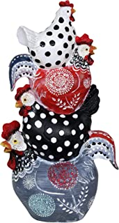 Exhart Stacked Chickens Garden Statue in Polka Dots & Abstract Designs - Hand-Painted Chickens Table Decor, Chicken Figurine, Resin Chicken Outdoor Statue, Farmhouse Décor, 3.5