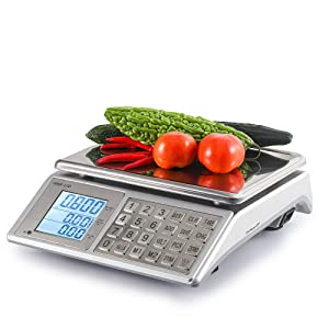 Towiac Digital Price Computing Scale 66lbs Commercial Food Meat Weight Scales with LCD Display Stainless Steel Keys