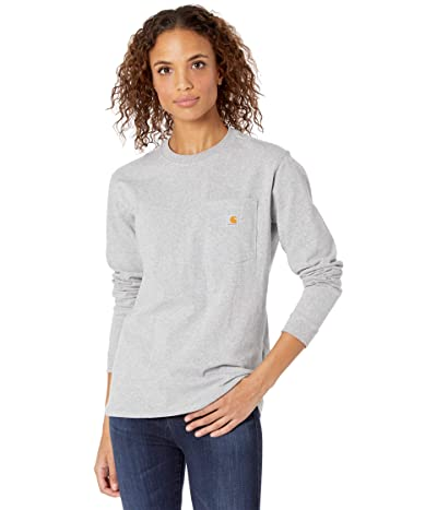 Carhartt WK126 Workwear Pocket Long Sleeve T-Shirt (Heather Gray) Women