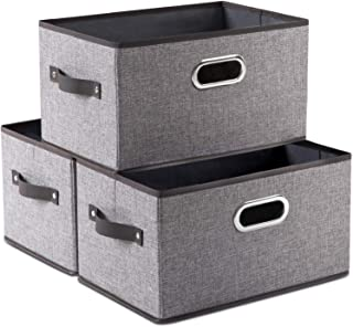 Prandom Large Foldable Storage Bins for Shelves [3-Pack] Decorative Linen Fabric Storage Baskets with Leather/Metal Handle...