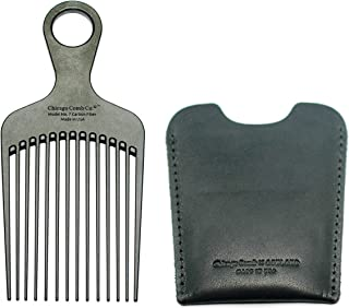 """Chicago Comb No. 7 Carbon Fiber + Horween Dublin Black leather sheath, Made in USA, Detangling Pick & Lift Comb, Men & Women, Long, Curly & Thick Hair, Big Beards & Afros, Anti-Static, 6"""" (15 cm) Long"""