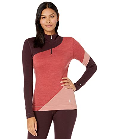 Smartwool Merino 250 Base Layer Color-Block 1/4 Zip (Masala Heather) Women
