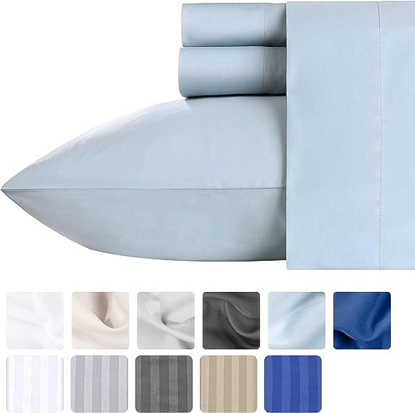 California Design Den Luxury Sateen Queen Size Sheets 500 Thread Count Light Blue 4 Piece 100 Cotton Sheet Set Deep Pocket Fade And Wrinkle Free Premium Bedding