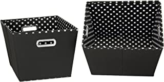 Household Essentials 19KDBLK-1 Medium Tapered Decorative Storage Bins | 2 Pack Set Cubby Baskets | Black and White Mini-Dots