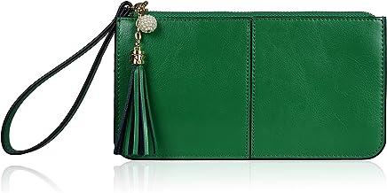 Befen Women's Genuine Leather Wristlet Clutch Cell Phone Wallet, Multi Card..