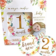 Baby Monthly Milestone Stickers. 16 Floral Belly Stickers for Girls 0-12 Months. Premium Gold Metallic Design. Perfect for Baby Shower Gifts, Registry, First Year Newborn Photography. Angie Makes