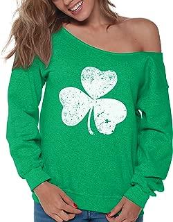 Vizor Clover Leaf Off Shoulder Sweatshirt Shamrock Sweater for St. Patrick's Day