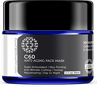 Carbon 60 Anti-Aging Face Mask 50ml with Green Tea, Aloe, Ubiquinone (CoQ 10), Vitamin E and Vitamin C for Men & Women Mad...
