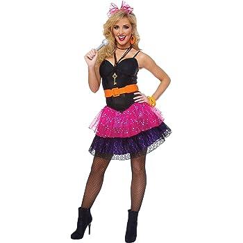 Women/'s 1980/'s Lace Neon Madonna Fancy Dress Costume Leggings Disco Hen Theme Do