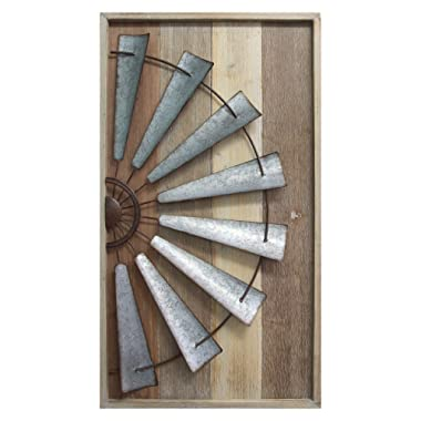 Stratton Home Décor S11547 Windmill Wall Décor, 17.72 W X 1.77 D X 31.50 H, Mixed Natural Wood, Galvanized Metal, Antique Bronze