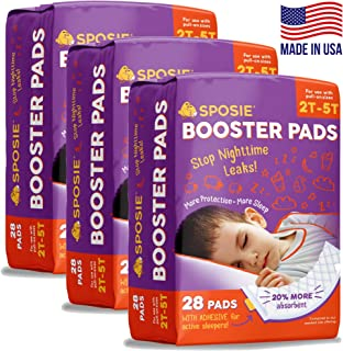 Sposie Adhesive Overnight Baby Diaper Booster Pads/Doublers | 84 ct. 3 Packs of 28 Insert-Pads | Adhesive Strip for Regular & Pull-On Diapers, Disposable, Nighttime Protection for Infant Boys & Girls