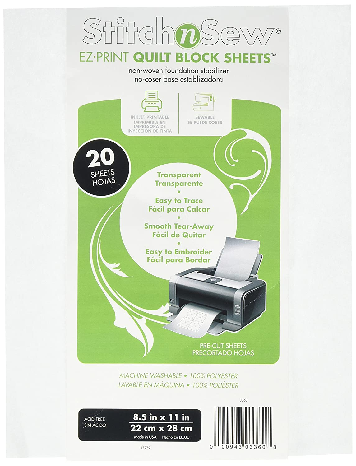 Thermo Web 3360 Stitch and Sew EZ-Print Transparent Non-Woven Quilt Block Sheet, 8.5 by 11-Inch, 20-Pack