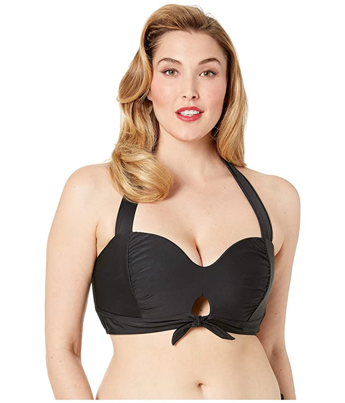 Unique Vintage Plus Size Mrs. West Halter Bikini Swim Top (Black) Women